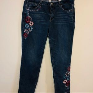 Vintage America embroidered distressed jeans